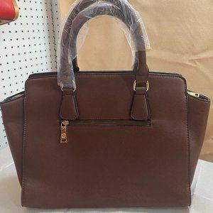 PEGASO Textured Top Handle Satchel - Brown